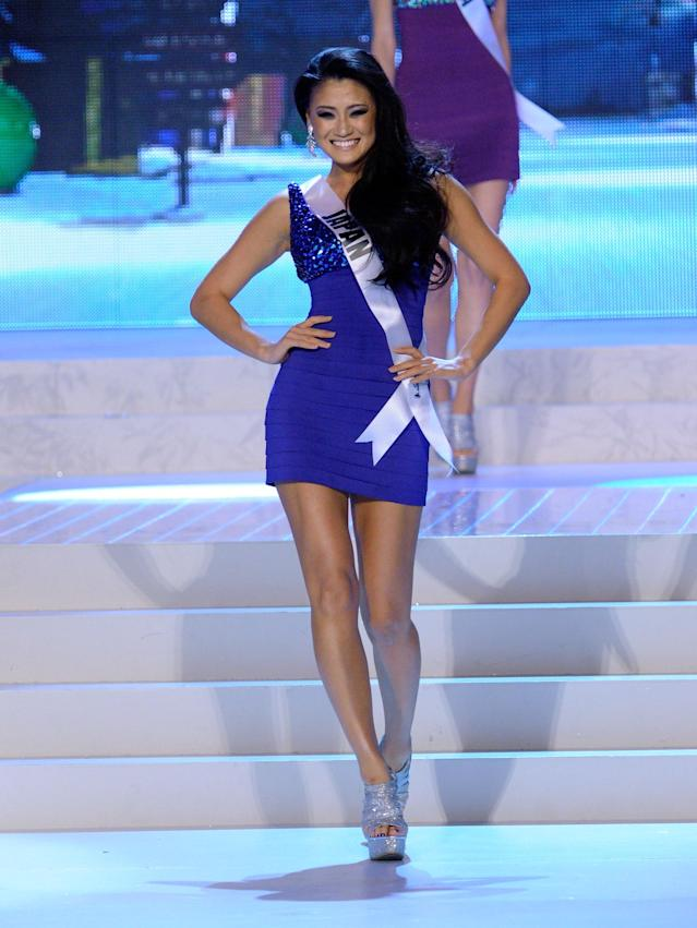 LAS VEGAS, NV - DECEMBER 19: Miss Japan 2012, Ayako Hara, is introduced during the 2012 Miss Universe Pageant at PH Live at Planet Hollywood Resort & Casino on December 19, 2012 in Las Vegas, Nevada. (Photo by David Becker/Getty Images)