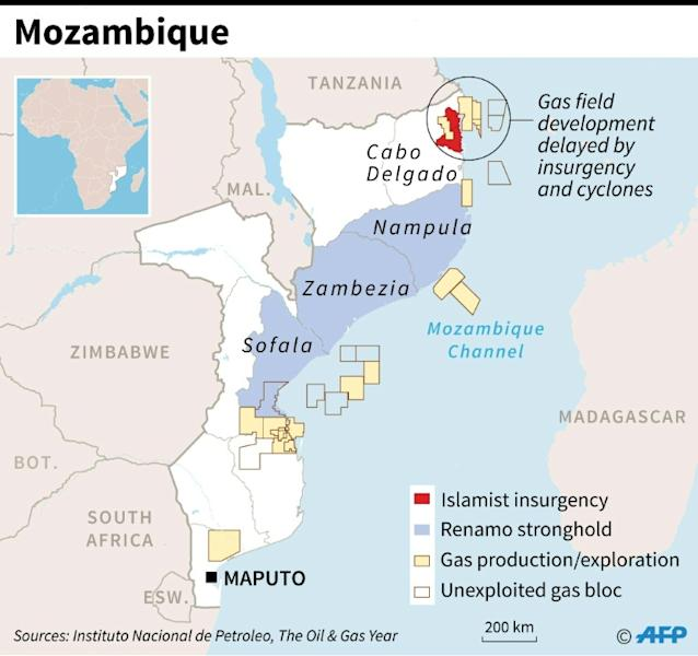 Map of Mozambique showing areas affected by Islamist insurgency, Renamo opposition bastions and gas blocs