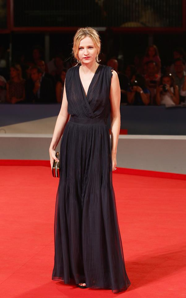 """VENICE, ITALY - SEPTEMBER 08: Actress Christa Theret attends the """"L'Homme Qui Rit"""" Premiere during the 69th Venice Film Festival at the Palazzo del Cinema on September 8, 2012 in Venice, Italy.  (Photo by Vittorio Zunino/Getty Images)"""