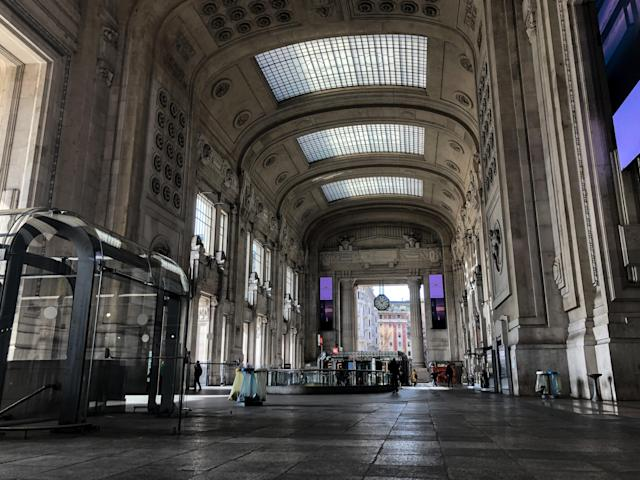 Milano Central Station the first day of quarantine in Italy, Milan, March 9, 2020. (Credit: Mairo Cinquetti/NurPhoto via Getty Images)