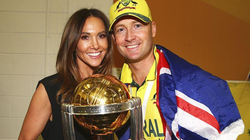 Michael and Kyly Clarke, pictured here celebrating his triumph at the Cricket World Cup in 2015.
