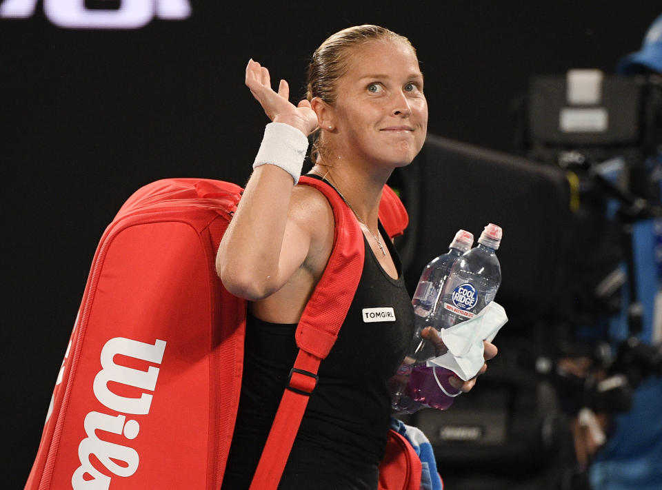 United States' Shelby Rogers waves as she leaves Rod Laver Arena following her fourth round loss to Australia's Ash Barty at the Australian Open tennis championship in Melbourne, Australia, Monday, Feb. 15, 2021.(AP Photo/Andy Brownbill)
