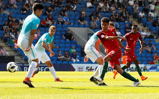 Soccer Football - UEFA European Under-17 Championship - Group B - Slovenia v Portugal - Proact Stadium, Chesterfield, Britain - May 7, 2018 Portugal's Eduardo Ribeiro scores their third goal Action Images via Reuters/Jason Cairnduff