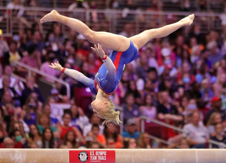 """<p>Keep an eye out for the 21-year-old individual competitor on the floor and vault: Carey is a four-time world championship medalist who will be competing as an individual for the U.S. """"Just being a role model for little kids is a really cool thing that happens,"""" Carey — who in June unveiled a <a href=""""https://twitter.com/FloGymnastics/status/1400146257935491073"""" rel=""""nofollow noopener"""" target=""""_blank"""" data-ylk=""""slk:triple-twisting double layout"""" class=""""link rapid-noclick-resp"""">triple-twisting double layout</a> on floor, a skill no female gymnast has ever competed with — <a href=""""https://people.com/sports/tokyo-olympics-jade-carey-simone-biles-reminds-other-gymnasts-to-have-fun/"""" rel=""""nofollow noopener"""" target=""""_blank"""" data-ylk=""""slk:told PEOPLE"""" class=""""link rapid-noclick-resp"""">told PEOPLE</a> earlier this year.</p>"""