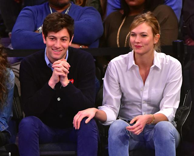 Joshua Kushner and Karlie Kloss, pictured at a 2016 New York Knicks game, are engaged, the supermodel confirms. (Photo: James Devaney/GC Images)