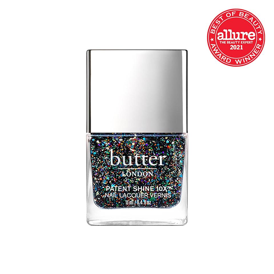 Suspended in translucent lacquer, the rainbow flecks in <strong>Butter London Patent Shine 10x Nail Lacquer in All You Need Is Love</strong> turn your run-of-the-mill manicure into bona fide nail art.