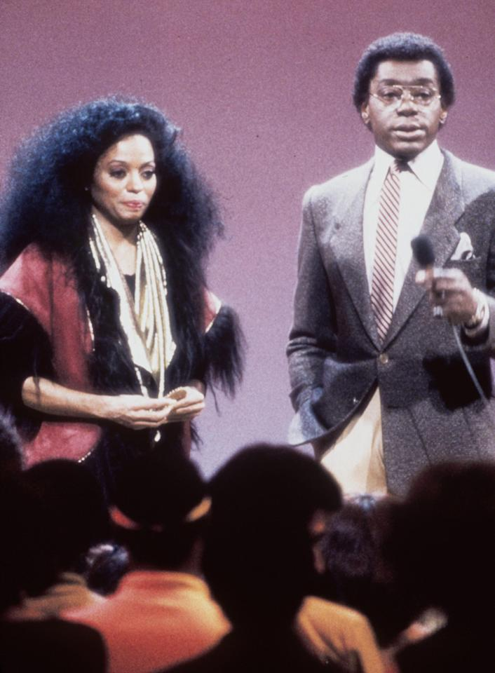 """Singer Diana Ross with show host and producer Don Cornelius. Ross was one of many entertainers who performed on """"Soul Train"""" in the 1970''s, part of the Soul Train 30th Anniversary """"Divas and Kings 2000 & Beyond."""" (Photo by 2001 Tribune Entertainment)"""