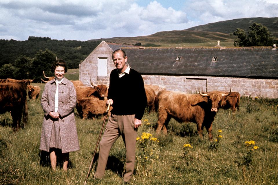File photo dated 01/09/72 of Queen Elizabeth II and the Duke of Edinburgh during a visit to a farm on their Balmoral estate, to celebrate their Silver Wedding anniversary. Balmoral in the Highlands, one of the royals' favourite places, held many memories for the Duke of Edinburgh. The Queen was once said to never be happier than when she was at Balmoral, Philip, too, loved the outdoor life that was synonymous with their annual break, which stretched from the end of July into October. Issue date: Friday April 4, 2021.