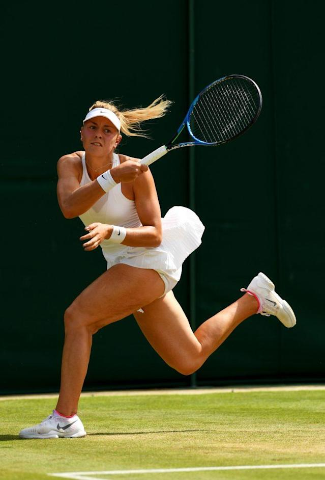 Carina Witthoeft of Germany plays against Elina Svitolina of Ukraine at the Wimbledon Lawn Tennis Championships in London on July 7. (Photo: Getty Images)