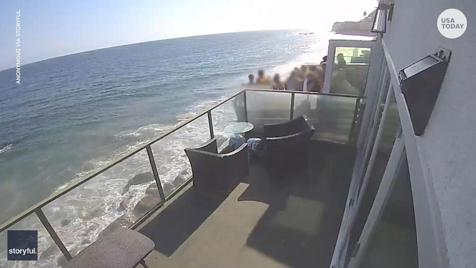 More than a dozen people were on a beachfront balcony in Malibu, California, when it collapsed nearly 15 feet onto rocks and sand below.