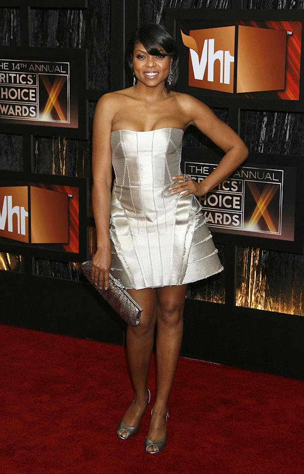 """<a href=""""http://movies.yahoo.com/movie/contributor/1804514499"""">TARAJI P. HENSON</a>  Critic's Choice Awards  Grade: D    This metallic satin strapless mini-dress -- with its ill-fitting bodice and fringy, too-wide skirt -- looks like something you'd see an extra on """"Star Trek"""" wear."""