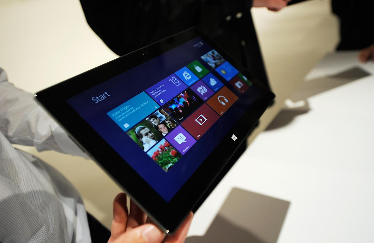 LOS ANGELES, CA - JUNE 18:  The Microsoft tablet Surface is unveiled during a news conference at Milk Studios on June 18, 2012 in Los Angeles, California. The new Surface tablet utilizes a 10.6 inch screen with a cover that contains a full multitouch keyboard. (Photo by Kevork Djansezian/Getty Images)