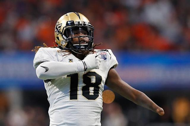 Shaquem Griffin, seen here at a game in January, 2018 in Atlanta, Georgia when he was part of the UCF Knights, was drafted by the Seattle Seahawks (AFP Photo/Kevin C. Cox)