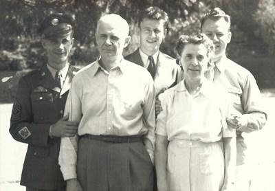 Kermit Shoen, circa 1945, pictured in uniform with his brothers and parents. A WWII Pacific Theater Veteran, Shoen will be memorialized in the lobby of Pearl Harbor's renovated Ford Island Control Tower later this year. Shoen is being honored as part of the 75th anniversary of V-J Day, as well as his contributions to U-Haul Company, which is celebrating 75 years of moving America.