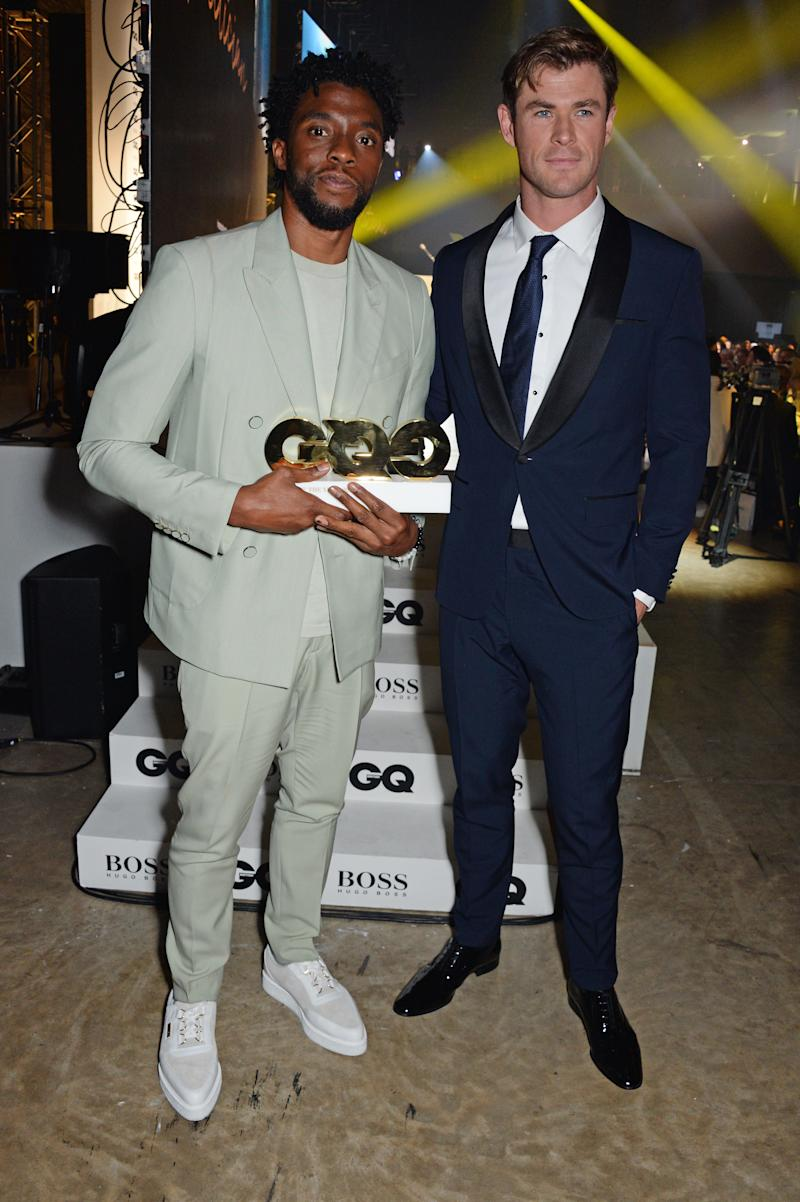 Chris Hemsworth and Chadwick Boseman at the GQ awards