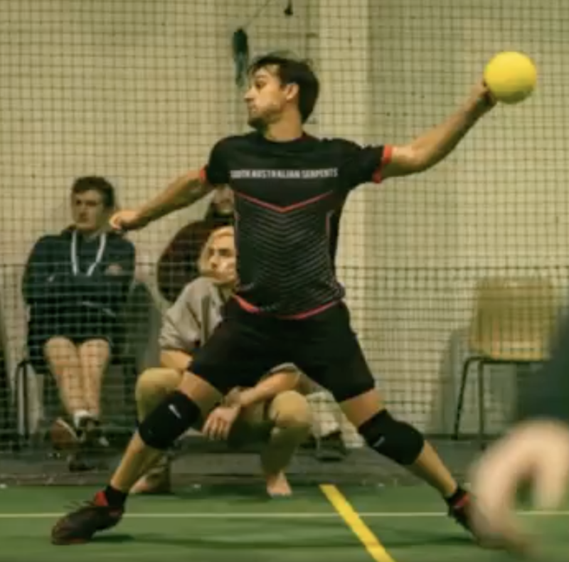 Dion Hallion throws a ball during an Adelaide dodgeball game.