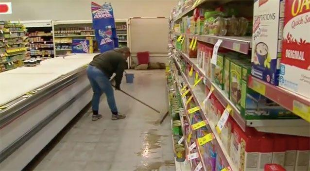 The clean-up inside the IGA. Source: 7News