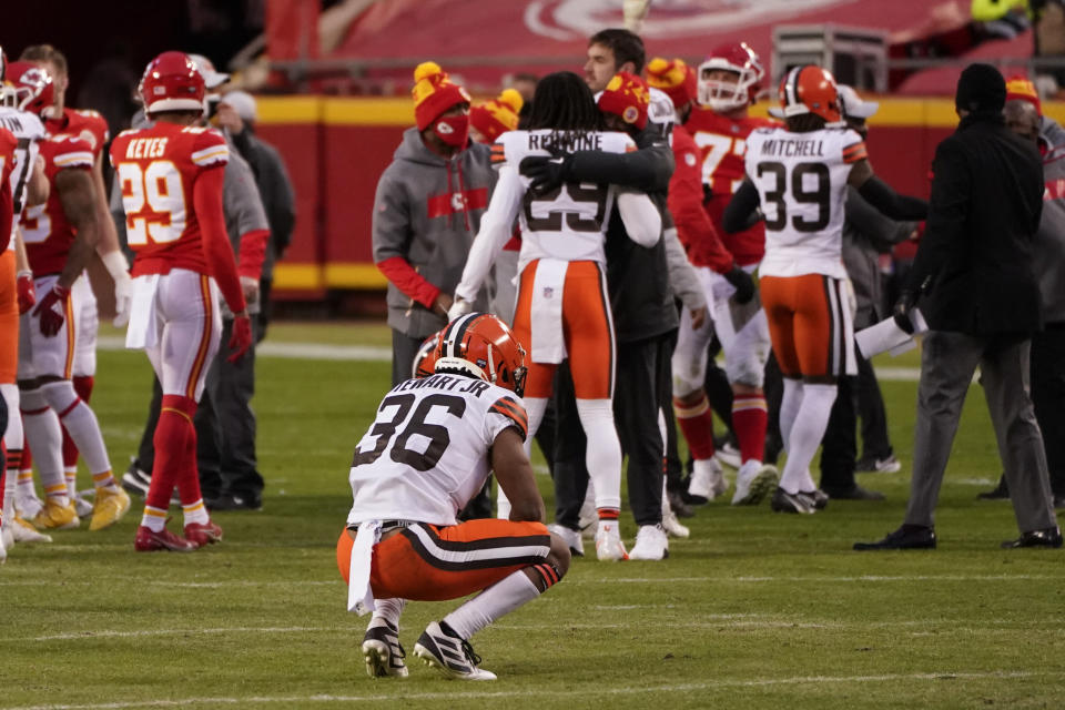 Cleveland Browns cornerback M.J. Stewart Jr. (36) reacts on the field after an NFL divisional round football game against the Kansas City Chiefs, Sunday, Jan. 17, 2021, in Kansas City. The Chiefs won 22-17. (AP Photo/Charlie Riedel)