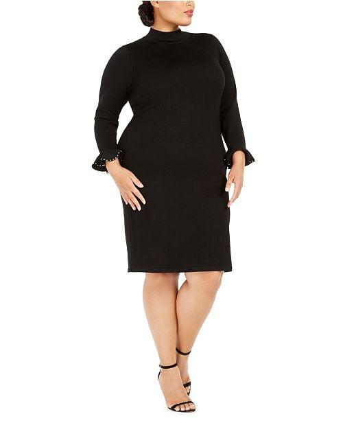 """<p>We love the high-necked <a href=""""https://www.popsugar.com/buy/Calvin-Klein-Studded-Cuff-Sweater-Dress-494094?p_name=Calvin%20Klein%20Studded-Cuff%20Sweater%20Dress&retailer=macys.com&pid=494094&price=109&evar1=fab%3Aus&evar9=46675966&evar98=https%3A%2F%2Fwww.popsugar.com%2Fphoto-gallery%2F46675966%2Fimage%2F46676085%2FCalvin-Klein-Studded-Cuff-Sweater-Dress&list1=shopping%2Cfall%20fashion%2Csweaters%2Cdresses%2Cfall%2Ccurve%2Ccurve%20fashion&prop13=api&pdata=1"""" rel=""""nofollow"""" data-shoppable-link=""""1"""" target=""""_blank"""" class=""""ga-track"""" data-ga-category=""""Related"""" data-ga-label=""""https://www.macys.com/shop/product/calvin-klein-plus-size-studded-cuff-sweater-dress?ID=9675472&amp;CategoryID=37038"""" data-ga-action=""""In-Line Links"""">Calvin Klein Studded-Cuff Sweater Dress</a> ($109) that has cute details on the sleeves.</p>"""