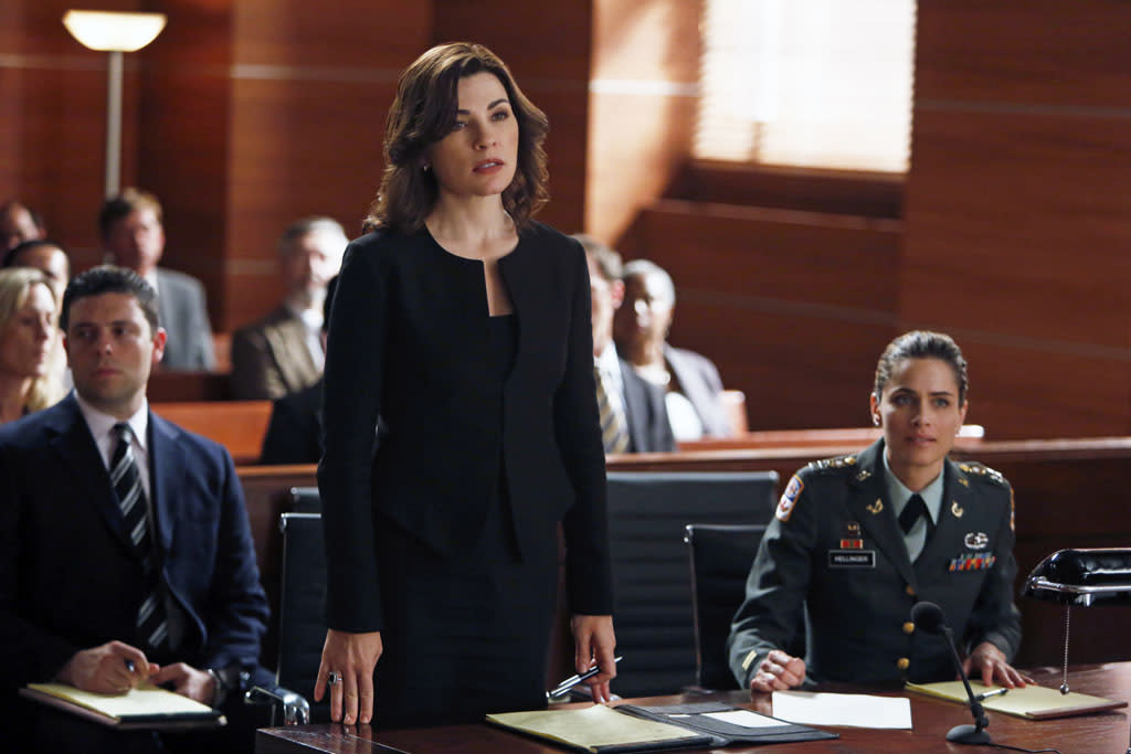 "Alicia (Julianna Margulies) represents Laura Hellinger (Amanda Peet), an Army captain who accuses a civilian contractor of attempting to rape her in Afghanistan in ""The Art of War,"" the sixth episode of ""The Good Wife"" Season 4."