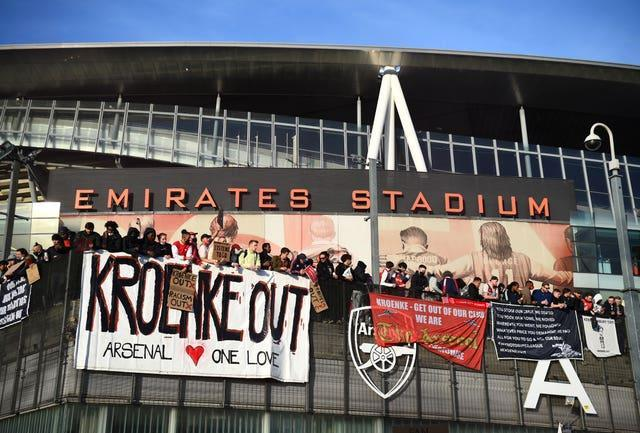 Arsenal fans protested against owner Stan Kroenke ahead of the recent defeat to Everton.