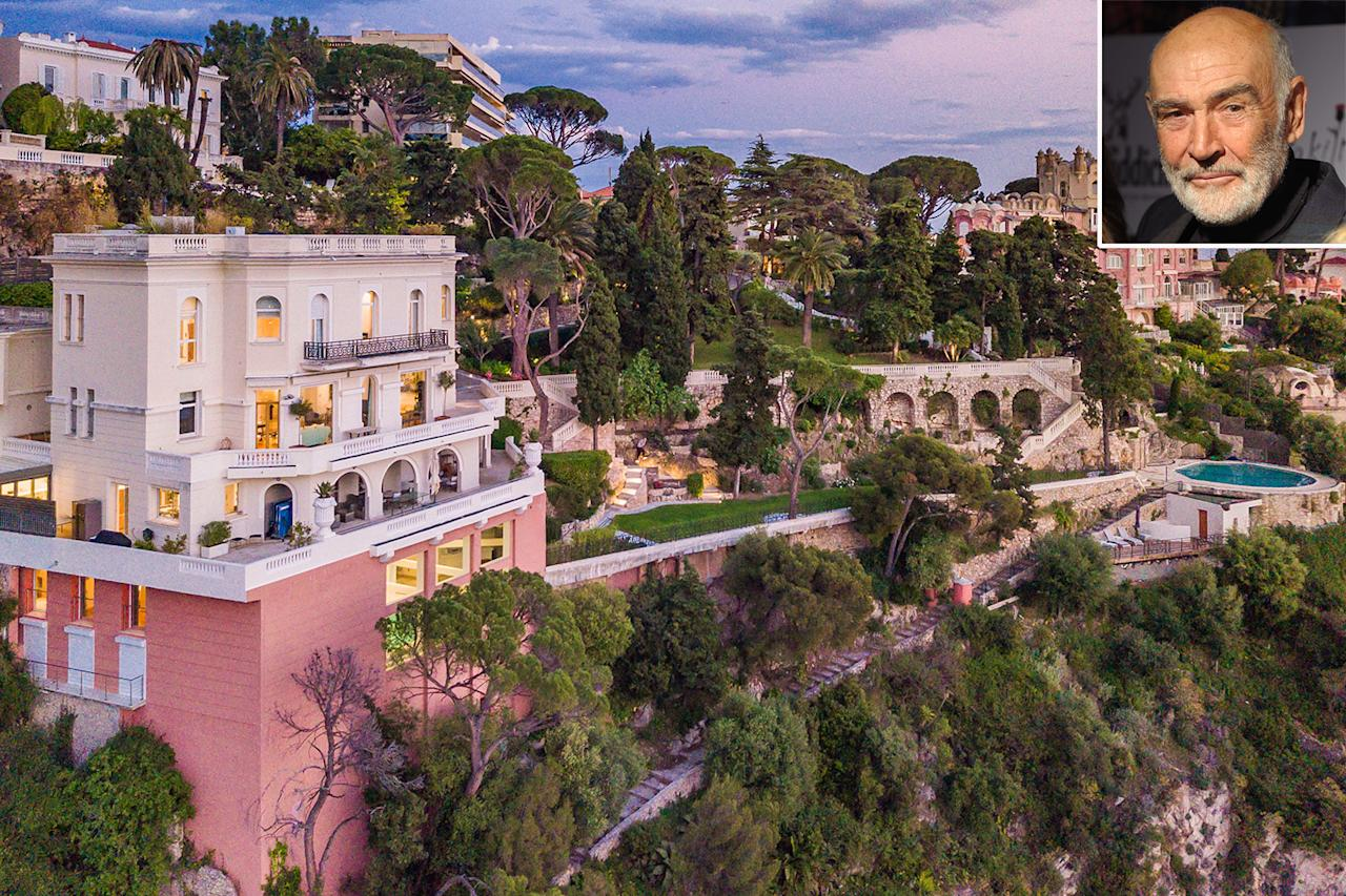 """<p><b>Location:</b> Nice, France</p> <p>The <em>James Bond</em>actor's longtime French Riveria home came to market in mid-June: <a href=""""https://people.com/home/sean-connerys-longtime-home-in-south-of-france-where-he-filmed-bond-for-sale-for-34-million/"""">a six-story Belle Epoque villa</a> dating from 1928 and set in exquisite surroundings with views of the city of Nice and the Mediterranean Sea.</p> <p>Connery purchased the house, known as La Roc Fleuri, after his 1970 marriage to painter Micheline Roquebrune. The newlywed couple lived there for """"a dozen or so years,"""" and it is still referred to as """"Sean Connery's house"""" by neighbors, according to realtor Mikael Zwaans of Knight Frank Cap Ferrat real estate agency.</p> <p>The original 10,764-square-foot villa contains five bedrooms, an indoor swimming pool, a gym and spa, gourmet kitchen facilities, and a rooftop terrace.</p> <p><a href=""""https://people.com/home/sean-connerys-longtime-home-in-south-of-france-where-he-filmed-bond-for-sale-for-34-million/"""">See more photos of Sean Connery's home.</a></p>"""