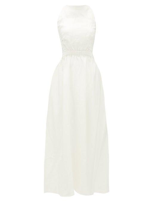 """<br> <br> <strong>Sir</strong> Alena Open-Back Linen Midi Dress, $, available at <a href=""""https://go.skimresources.com/?id=30283X879131&url=https%3A%2F%2Fwww.matchesfashion.com%2Fus%2Fproducts%2FSir-Alena-open-back-linen-midi-dress-1348979"""" rel=""""nofollow noopener"""" target=""""_blank"""" data-ylk=""""slk:Matches Fashion"""" class=""""link rapid-noclick-resp"""">Matches Fashion</a>"""
