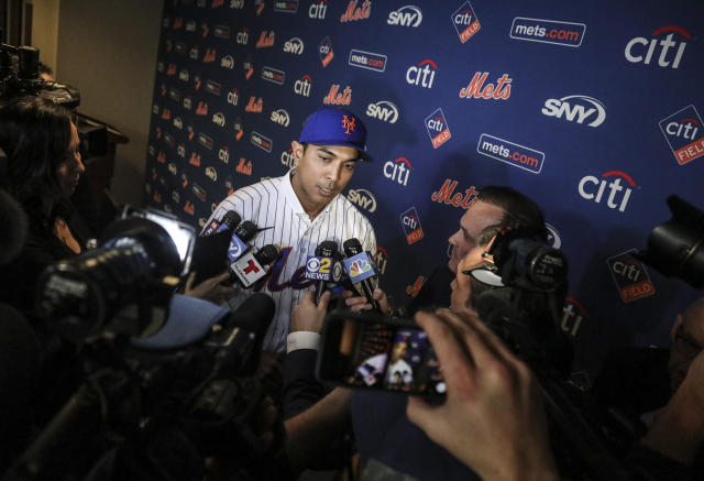 New York Mets new manager Luis Rojas speaks with the media after his introduction at a news conference, Friday, Jan. 24, 2020, in New York. (AP Photo/Bebeto Matthews)