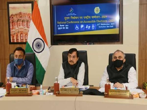 CEC Sushil Chandra, Election Commissioners Rajiv Kumar and Anup Chandra Pandey during National Conference on Accessible Elections on Tuesday.