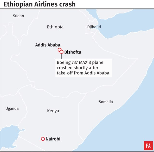 The site of the Ethiopian Airlines crash