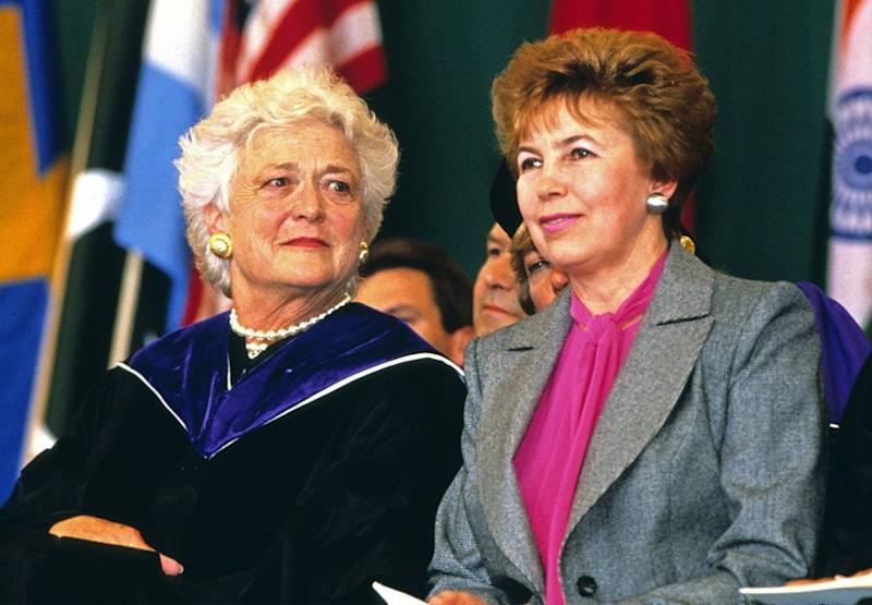 Barbara Bush (left) and Raisa Gorbachev in June 1990 | REX/Shutterstock