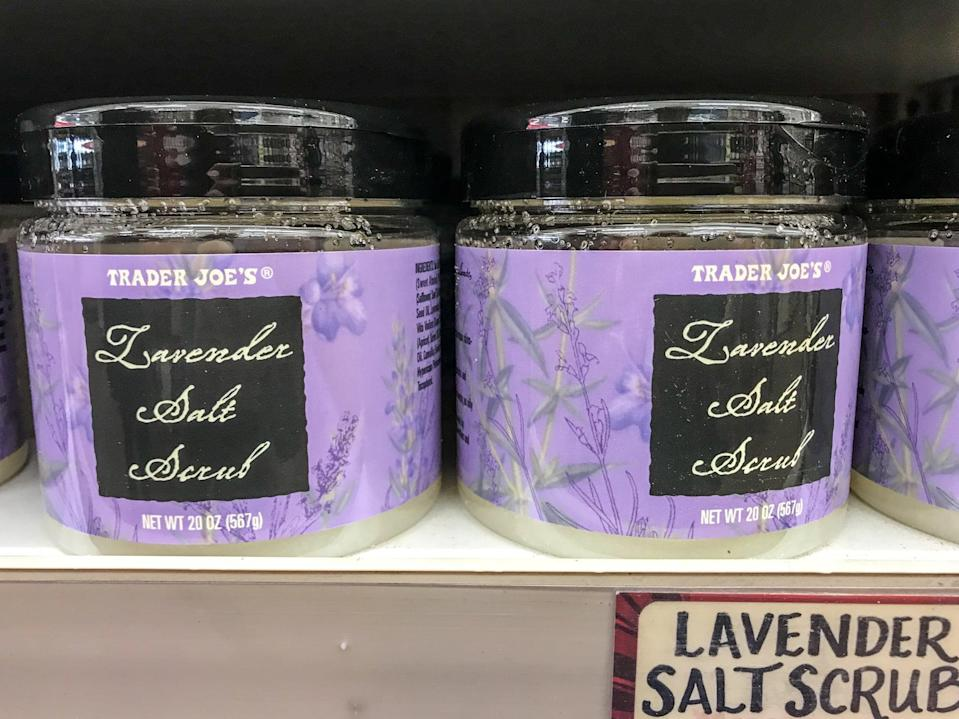 <p>Lavender's on the beauty menu this season, and this tub of salt scrub is a welcome part of the lineup. Exfoliate the heck out of those dry, wintery legs (or maybe that's just us), and thank Trader Joe's later. </p>