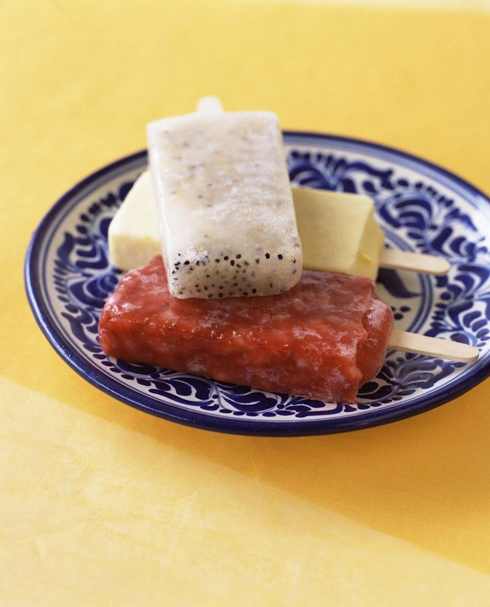 """<p>Hispanic Heritage Month may arrive in the last week of summer, but we'd argue that paletas should be a year-round treat. The Mexican popsicles are <a href=""""https://www.thespruceeats.com/how-make-paletas-or-mexican-style-ice-pops-4129109"""" rel=""""nofollow noopener"""" target=""""_blank"""" data-ylk=""""slk:simple to make"""" class=""""link rapid-noclick-resp"""">simple to make</a>; the basic main ingredients are water, sugar, lime juice, and fresh fruit. But flavor combinations abound—add chili, <a href=""""https://theothersideofthetortilla.com/2014/05/paletas-fresas-con-crema-recipe/"""" rel=""""nofollow noopener"""" target=""""_blank"""" data-ylk=""""slk:cream"""" class=""""link rapid-noclick-resp"""">cream</a>, chocolate, and whatever fruit combos you can dream up and turn your own home into a <em><a href=""""https://www.paletasfernandez.com/"""" rel=""""nofollow noopener"""" target=""""_blank"""" data-ylk=""""slk:paletería."""" class=""""link rapid-noclick-resp"""">paletería.</a></em><br> </p>"""