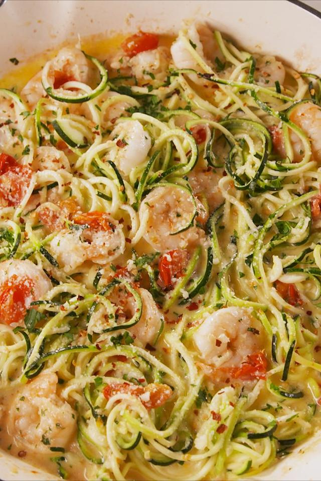 """<p>Oodles of zoodles!</p><p>Get the recipe from <a rel=""""nofollow"""" href=""""https://www.delish.com/cooking/recipe-ideas/a19664978/garlicky-shrimp-zucchini-pasta-recipe/"""">Delish</a>.</p><p><a rel=""""nofollow"""" href=""""https://www.amazon.com/Spiralizer-Vegetable-Strongest-Spaghetti-Gluten-Free/dp/B075SLJ42S?tag=delish_auto-append-20&ascsubtag=[artid