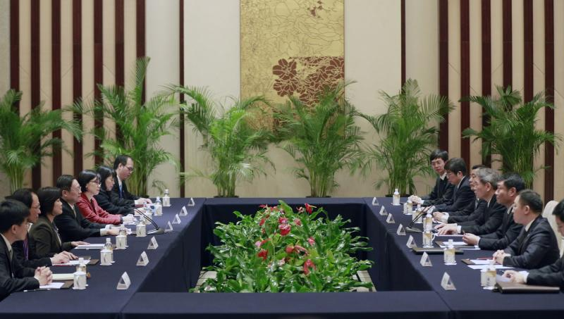 Head of the State Council Taiwan Affairs Office Zhang Zhijun meets with Wang Yu-chi, Taiwan's mainland affairs chief, in Nanjing