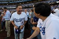<p>Actors Rob Lowe and Ken Jeong joke around prior to Game 1 of the 2017 World Series between the Houston Astros and the Los Angeles Dodgers at Dodger Stadium on Tuesday, October 24, 2017 in Los Angeles, California. (Photo by Rob Tringali/MLB Photos via Getty Images) </p>