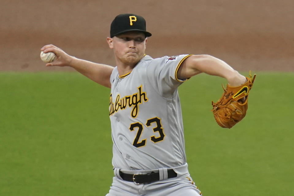 Pittsburgh Pirates starting pitcher Mitch Keller works against a San Diego Padres batter during the first inning of a baseball game Tuesday, May 4, 2021, in San Diego. (AP Photo/Gregory Bull)