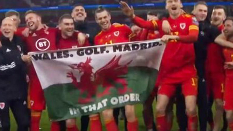 Gareth Bale trolled Real Madrid with a cheeky banner after Wales qualified for Euro 2020. (Getty Images)
