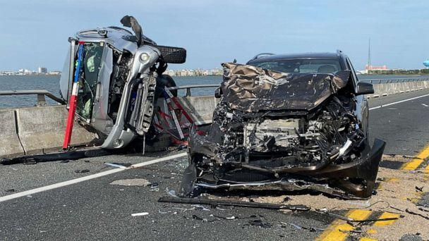 PHOTO: Wreckage from a car accident on the Route 90 bridge in Ocean City, Md., May 2, 2021. (Ocean City Fire Department via AP)