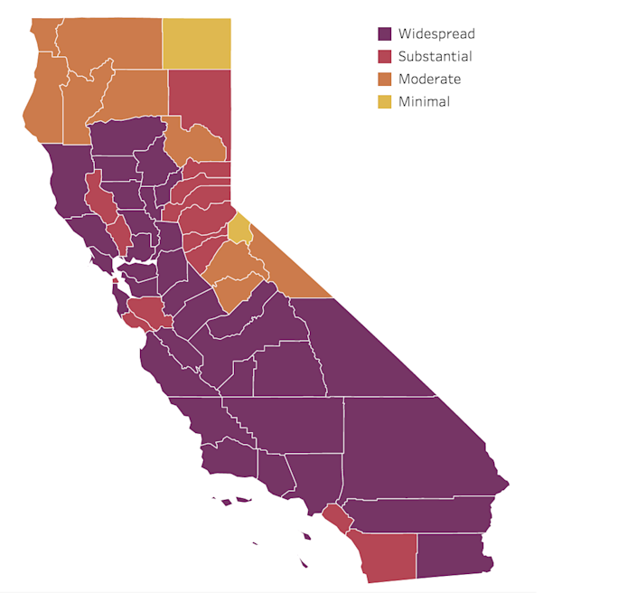 """A graphic from the state of California shows which color """"tier"""" each county is in based on its COVID-19 dat. Purple is the most restrictive, while yellow is the least."""