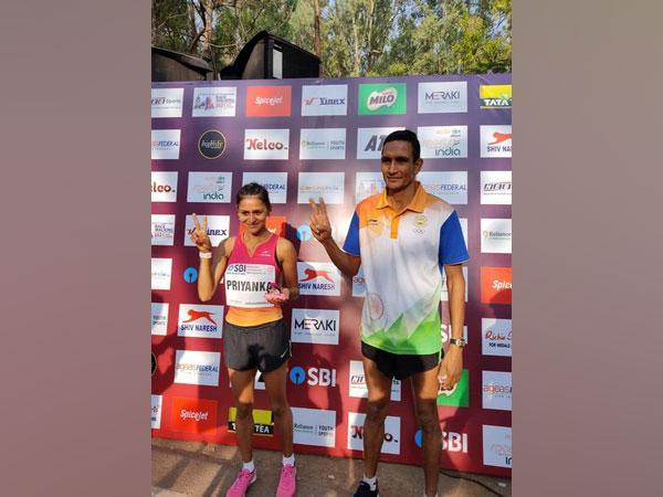Priyanka Goswami (Uttar Pradesh) and Sandeep Kumar (Haryana) (Image: Athletics Federation of India's Twitter)