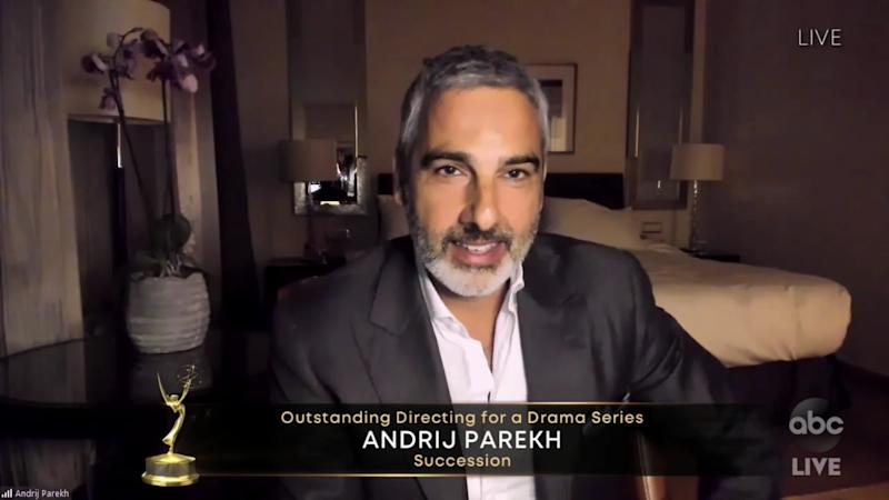 "Andrij Parekh, winning for Directing for a Drama Series for ""Succession"" during the 72nd Annual Emmy Awards"
