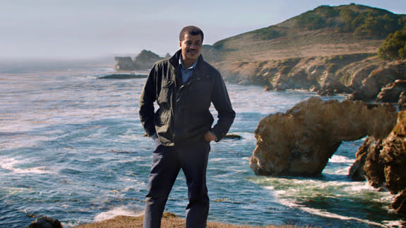 """Astrophysicist Neil deGrasse Tyson stands at the sea in a scene from """"Unafraid of the Dark,"""" the final episode of """"Cosmos: A Spacetime Odyssey."""""""