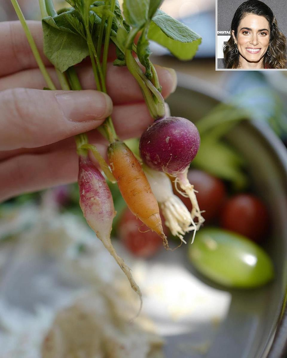 """<p>""""You know the restaurant really cares about organic when they serve veggies that are the size of your thumb!"""" Reed wrote on a photo of <a href=""""https://www.instagram.com/p/CQJXgRPDG1n/"""" rel=""""nofollow noopener"""" target=""""_blank"""" data-ylk=""""slk:pint-sized carrots, radishes and more."""" class=""""link rapid-noclick-resp"""">pint-sized carrots, radishes and more.</a> """"I don't know about you but I cherish each and every bite of food grown, especially when I know the hands that grew it.""""</p>"""