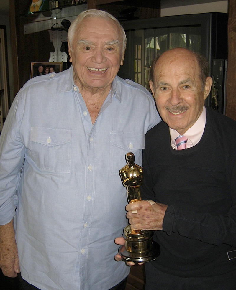 """This Oct. 10, 2008 photo from the Archive of American Television shows television producer and executive Henry Colman, right, with actor Ernest Borgnine. Colman, whose credits include """"The Love Boat,"""" """"Hawaii Five-O"""" and """"Green Acres,"""" has died. He was 89. Colman died Wednesday, Nov. 7, 2012, according to an announcement Sunday, Nov. 11,  by the Archive of American Television. (AP Photo/Archive of American Television)"""