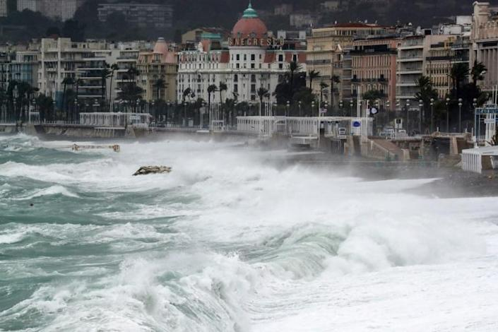 Huge waves pummeled the shore in Nice, southeast France, on Friday, prompting authorities to close off access.