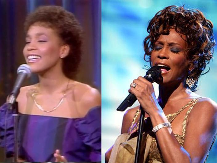 """Whitney Houston on """"The Merv Griffin Show"""" in 1983, and at the 2004 World Music Awards."""