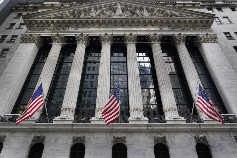 FILE - The New York Stock Exchange is seen in New York, Monday, Nov. 23, 2020. On Wednesday, April 28, President Joe Biden is expected to propose doubling the tax rate that the highest-earning Americans pay on profits made from stocks and other investments. (AP Photo/Seth Wenig, File)