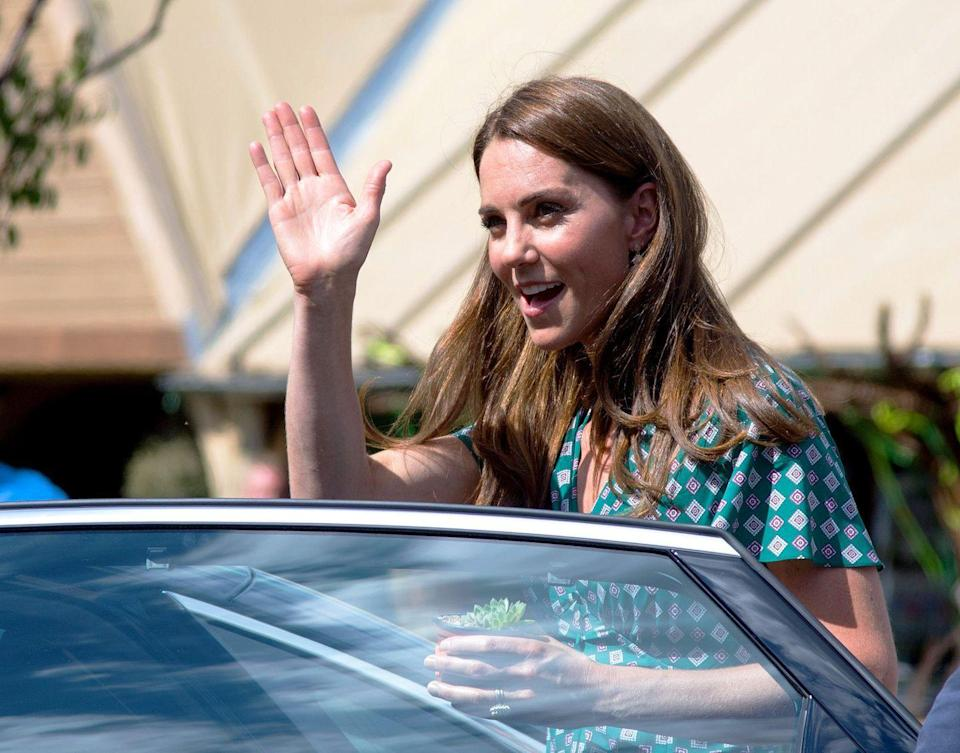<p>The Duchess of Cambridge chose a patterned Sandro dress for a picnic with children from several of her patronages at Hampton Court Palace. </p>