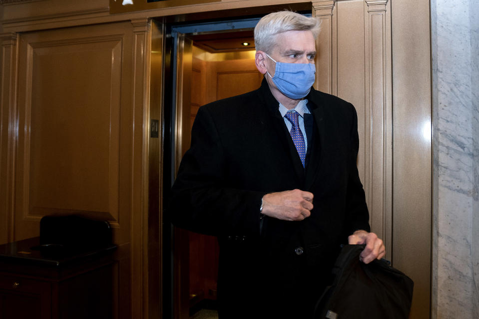 Sen. Bill Cassidy, R-La., departs Capitol Hill after the Senate acquitted former President Donald Trump in his second impeachment trial in the Senate at the U.S. Capitol in Washington, Saturday, Feb. 13, 2021. (Stefani Reynolds/Pool via AP)